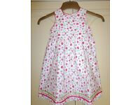 Girls Lined Flowery 100% Cotton Summer Dress. Age 2-3 Years