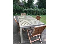 Outdoor teka garden table for 6 with 4 chairs