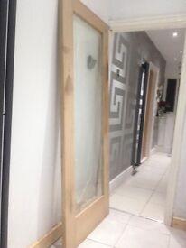 oak veneer glazed door