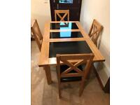 Dining Table Oak and black granite with four chairs