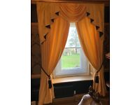 """2 pair Ochre/yellow/gold curtains with swags & tails 72""""width x 90""""drop"""
