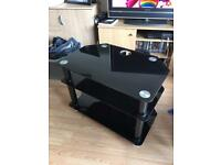 Black Glass TV Stand (Really Good Condition)