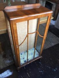 Vintage 1950s Display / Drinks Cabinet - Teak Colour, Retro style, Glass Shelves