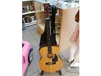 Acoustic guitar. Stand and case