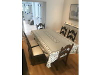 Elegant solid cherry wood antique dining table and 6 upholstered chairs