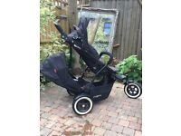 Phil and Ted DOT double pram/good condition/ideal for travelling with new born and toddler