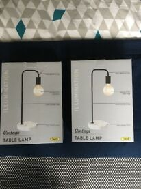 2 x vintage MARBLE INDUSTRIAL TABLE LAMPS light bulb BRANS NEW IN BOX
