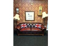 Extreme Rare Chesterfield Thomas Lloyd 3 Seater Sofa Oxblood Leather