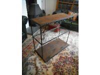 Vintage - Metal & Wood Shelves with Glass middle Shelf. *Shabby Chic/Vintage Furniture*.