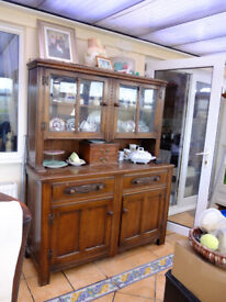 Dark wood dresser oak I think with display cupboards circa 1930's ish