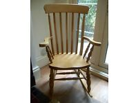 Beautiful Large Solid Country Style Wooden Rocking Chair