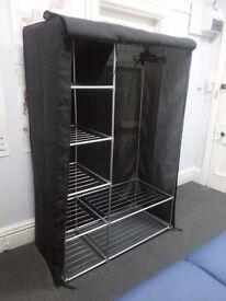 HOME Metal and Polycotton Double Wardrobe - Black