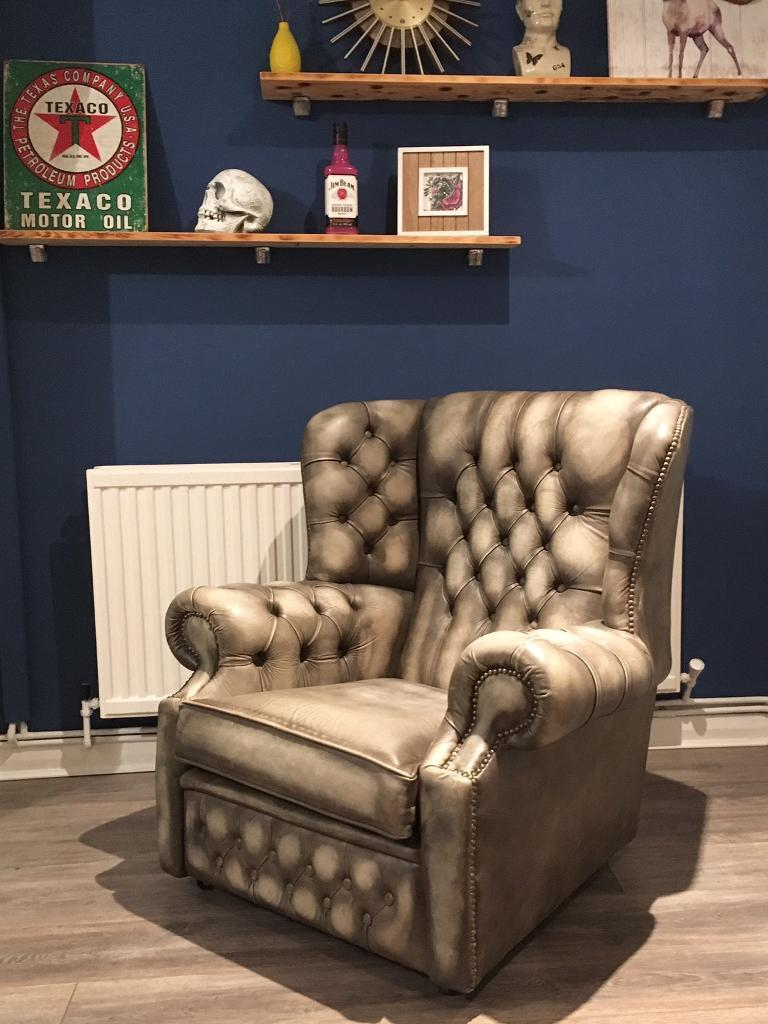 Chesterfield leather wingback chair in stone colour