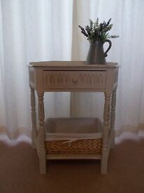 Side table, shabby chic. Kitchen, hall, lounge. Country cream. Drawer and shelf.