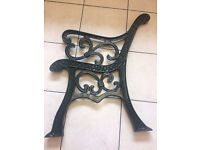 2 x CAST IRON GREEN BENCH ENDS