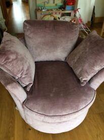 Ellis swivel armchair - lilac, like new