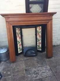 Antique tiled fireplace