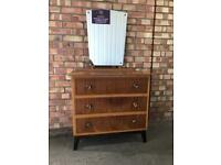 Vintage Chest of Draws or Dressing Table With Mirror Retro Mid Century