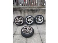 """4 x 17"""" alloy wheels. 5 twin spoke 4x100 and 4x108 Vauxhall Astra multi fit"""