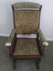Antique Victorian rocking chair in good working order needs some TLC. Springs and wood all original