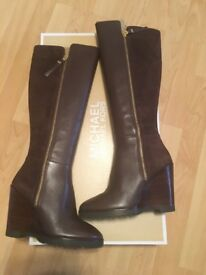 MICHAEL KORS - Clara Wedge Ladies Leather Brown Knee High Boot (Size 5)