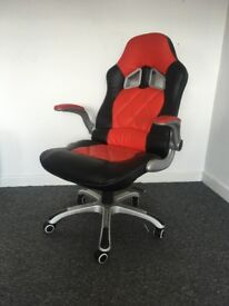 Cherry Tree Furniture Racing Car Seat Style Office Recline Swivel Chair with Adjustable Armrests,
