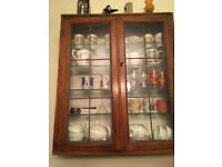 oak glass fronted wall cabinet