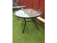 Glass patio tables