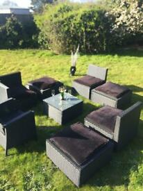 Garden Rattan 7 seater table chairs stools recliner
