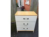 IKEA white and pine drawers