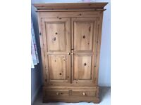 3 piece pine bedroom furniture - wardrobe, chest of drawers and bedside cabinet