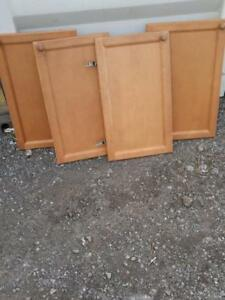 OAKVILLE 4 Identical CupBoard Doors - Solid Wood with Hinges and Handles - Kitchen Storage no cabinets