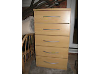 Beech colour chest of drawers x 2