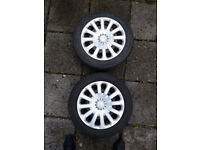 Two Ford Fiesta steel wheels with Continental tyres