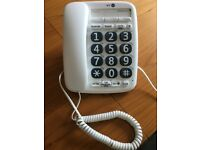 BT Big Button Telephone Amplified Handset Hands Free Speaker Phone Corded White