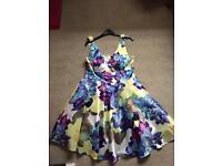 Bright flowered Skater Dress Size 14