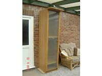 Tall Single Wardrobe with a Glass Door and Built in Down light. Can Deliver.