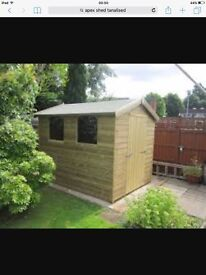 10x10 new heavy duty apex shed