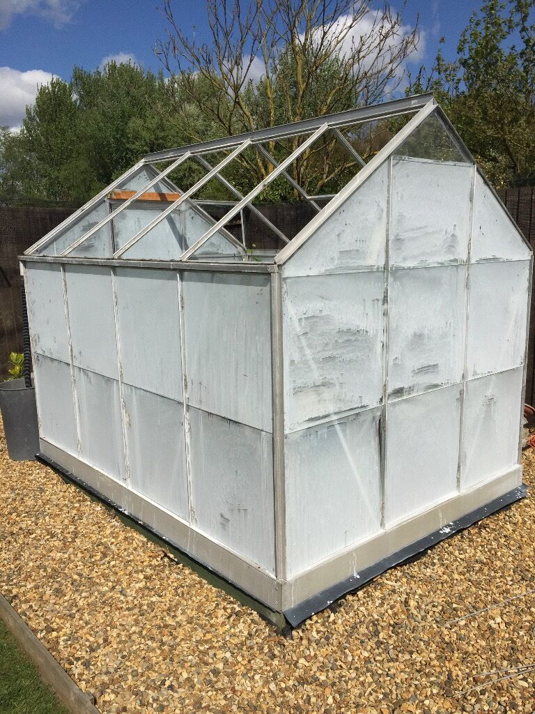 Aluminium greenhouse for salein Manningtree, EssexGumtree - Aluminium greenhouse for sale 8ft (2.4m) x6ft (1.8m) Aluminium greenhouse with all the glass and an additional aluminium base greenhouse staging to one side. The greenhouse is dismantled, the white on the glass is greenhouse sun shade collect only...