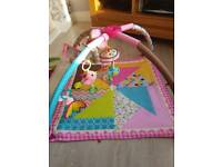 Baby girl mobile play mat with removable toys