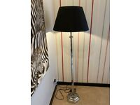 Silver Floor Lamp with Blue Lamp Shade