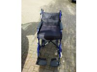 INVACARE ALU LITE FOLDABLE WHEELCHAIR WITH CARRIER BAG AND SEAT CUSHION IN VERY GOOD CONDITION