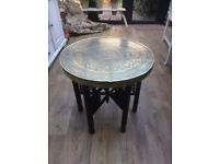 Vintage Moroccan Brass Top Table