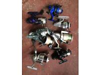 Joblot of 7 fishing reels and spool
