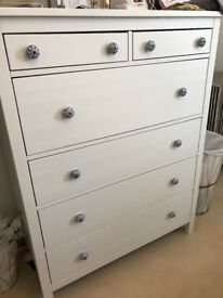 IKEA HEMNES - chest of 6 drawers, with blue and white china knobs added to personalise.