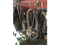 Gas welding kit complete with trolley