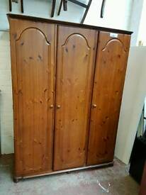 Pine triple door bedroom wardrobe