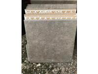 12 Brown ceramic floor tiles from B &Q