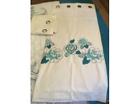 Next eyelet fully lined curtains White & Teal