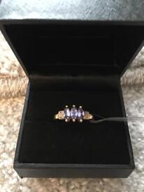AA Tanzanite and Diamond Gold Ring